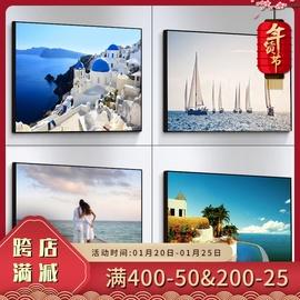 地中海风格装饰画大海风景画海边海景背景墙壁画卧室床头房间挂画