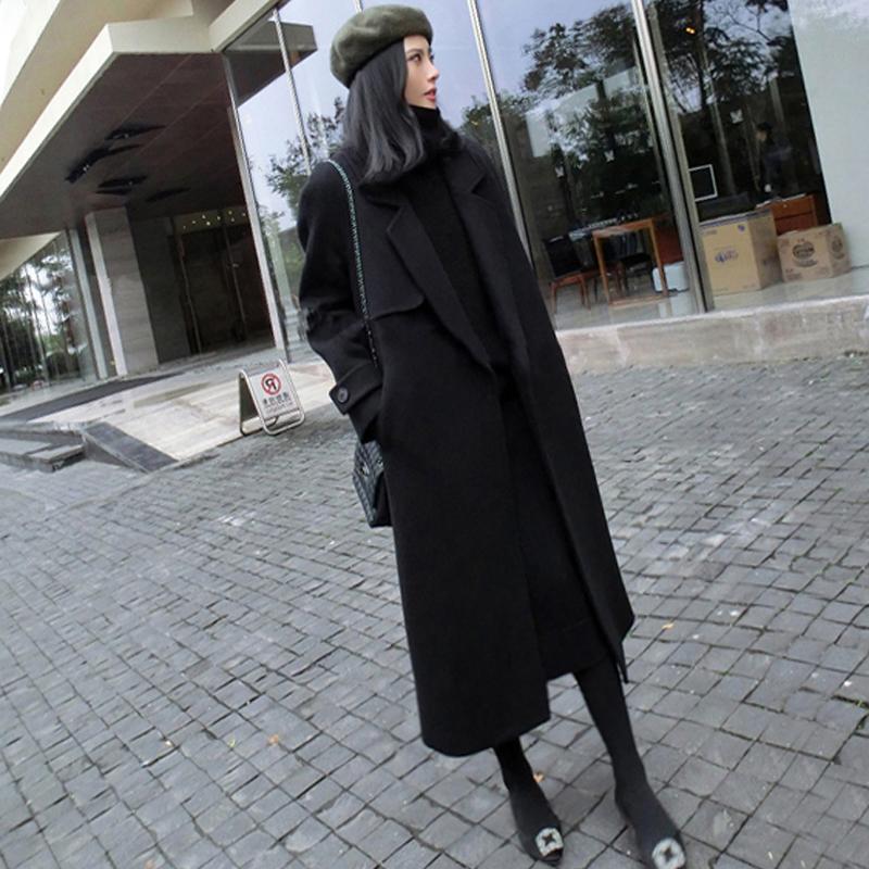 Hepburn thickened black woolen overcoat mid length over knee Lace Up Korean woolen coat womens wear in autumn / winter 2018