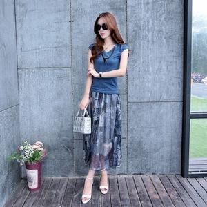 2019夏季新款韓版女裝短袖T恤+中長款雪紡印花裙連衣裙女兩件套裝