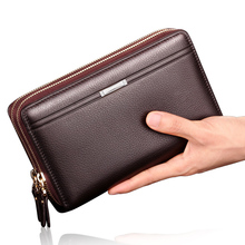 Handbag men's Leather Wallet long large capacity handbag men's handbag men's soft leather wallet trend