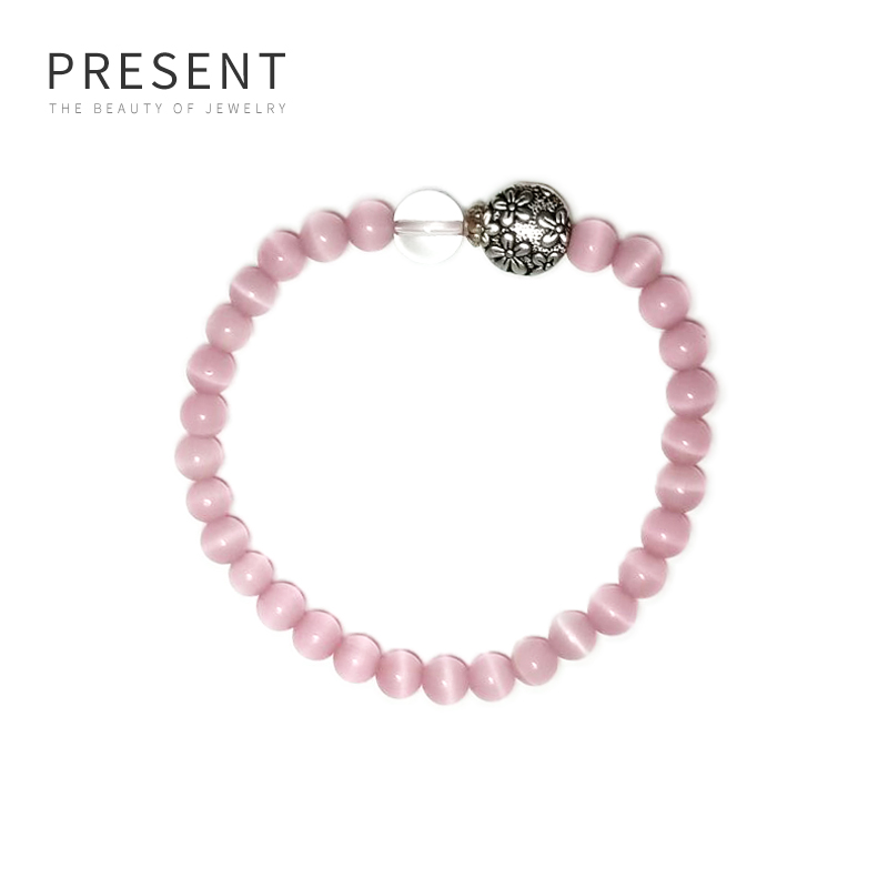 Cats eye white crystal bracelet girl gentle student style with old forest plant flower 4055-wbka