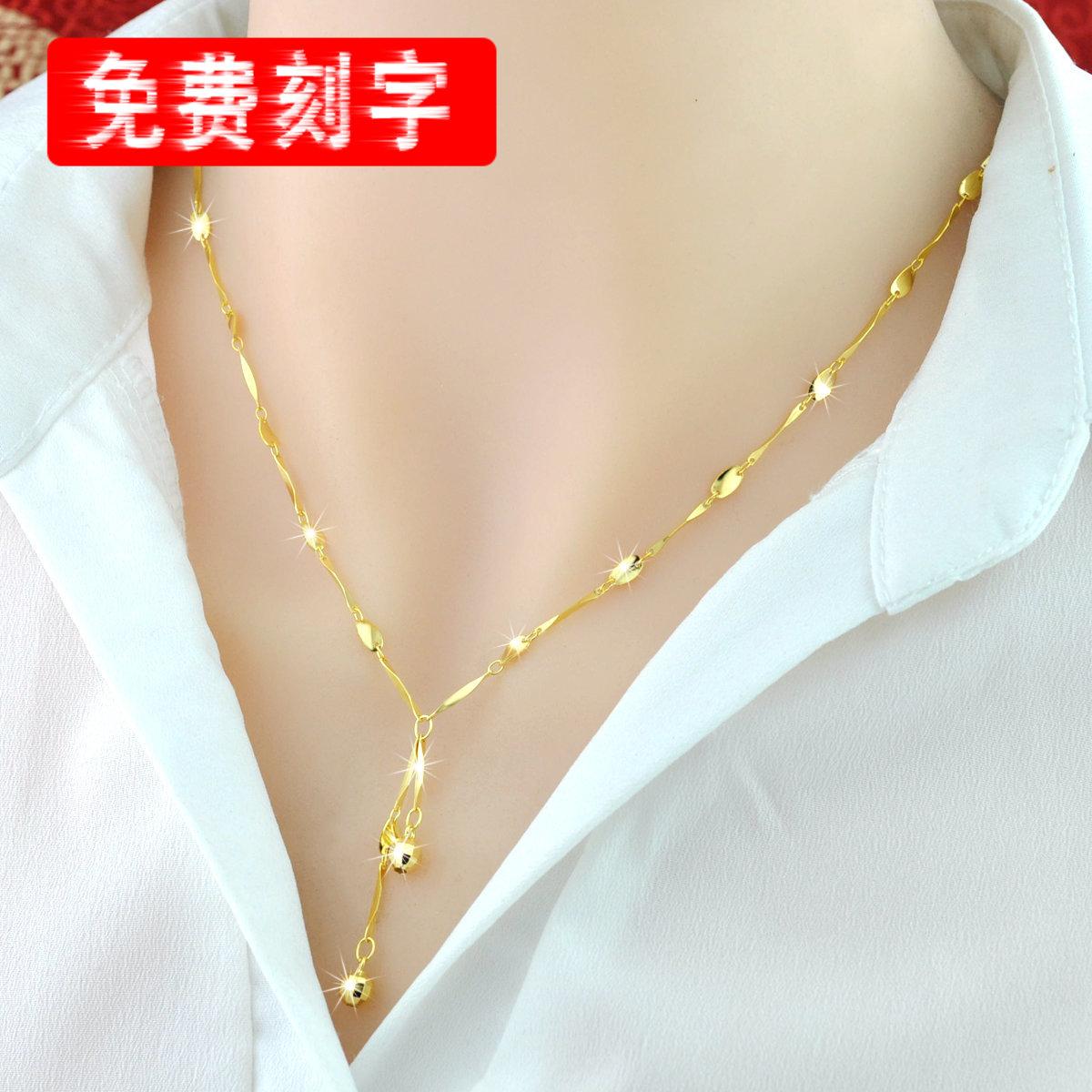 [祥灵银饰项链]彩银项链女 S925纯银韩版18K彩月销量603件仅售66元