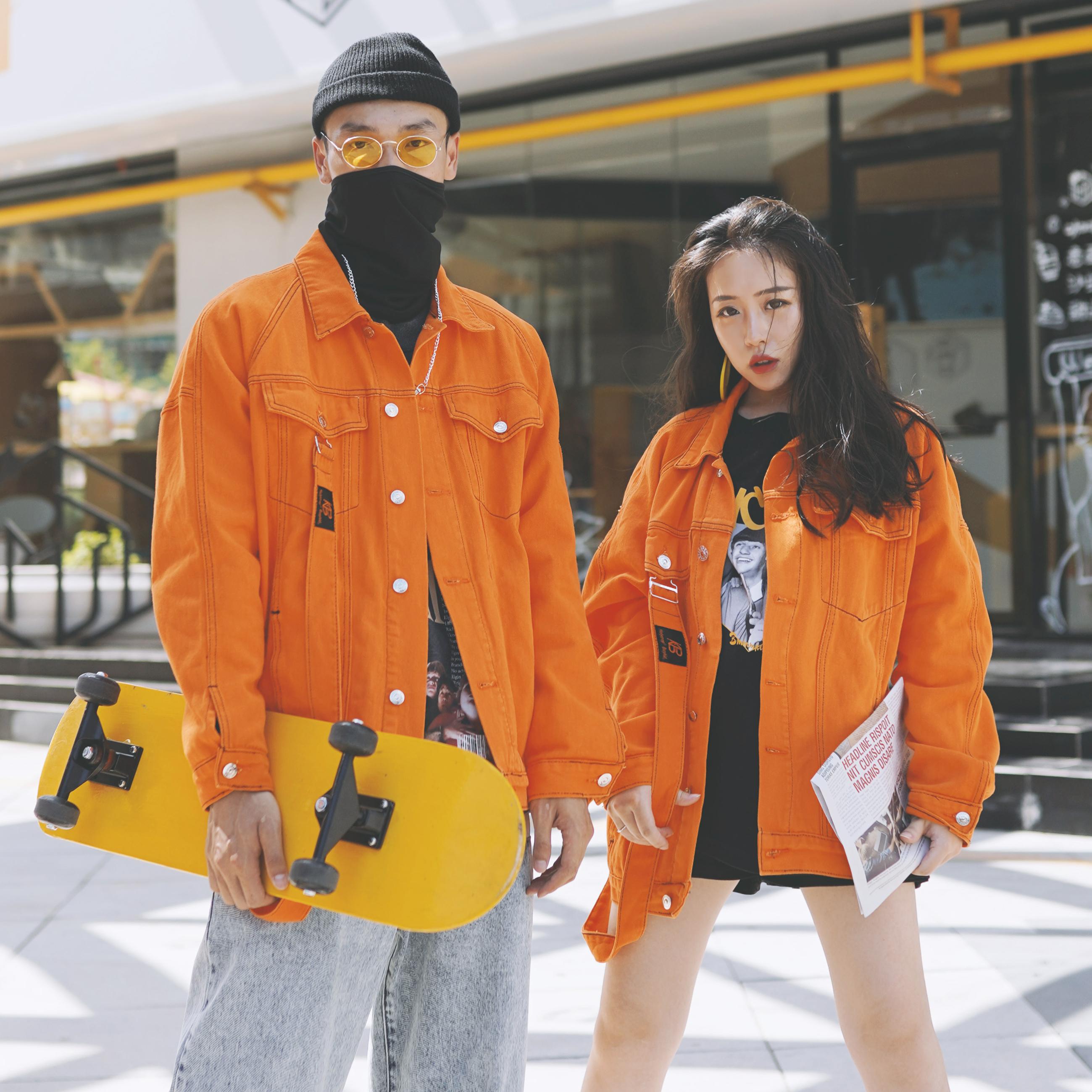 Hiphop嘻哈国潮橙色牛仔外套秋男女街舞宽松情侣潮牌夹克橘色大码