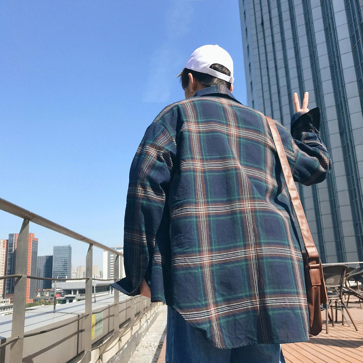 秋季港风格子衬衫男士韩版加肥大码长袖休闲衬衣男装外套161 P35