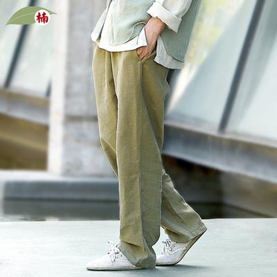 楠亚麻裤男宽松 中国风苎麻秋季唐装裤子直筒男士休闲长裤松紧裤