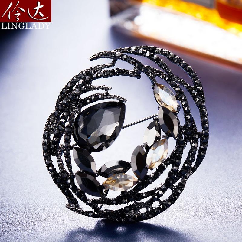 Lingda jewelry round Brooch female personality geometric Brooch temperament big pin high grade female luxury pin