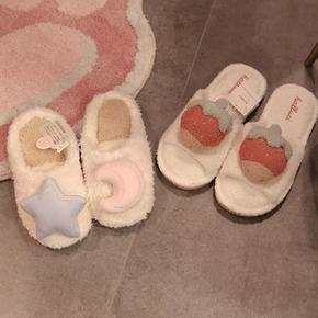 春夏室内可爱保暖家居情侣棉拖鞋女家用毛毛绒包跟厚底棉鞋日本