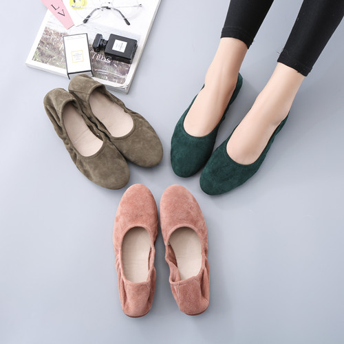 Spring and summer 20 shallow round head car folding soft bottom round head pregnant women Ballet Flat Bottom non slip comfortable egg roll womens shoes
