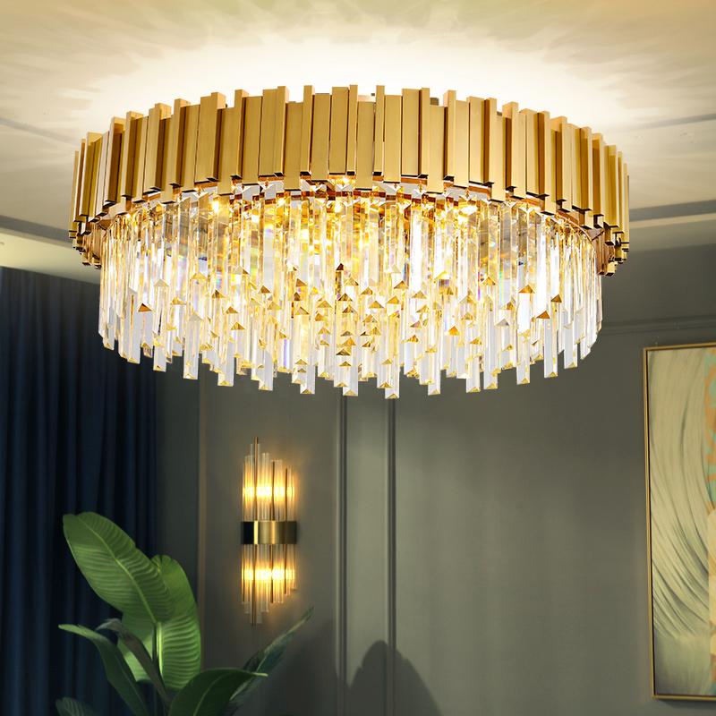 2020 new round luxury living room crystal chandelier simple villa postmodern Nordic dining room bedroom lighting