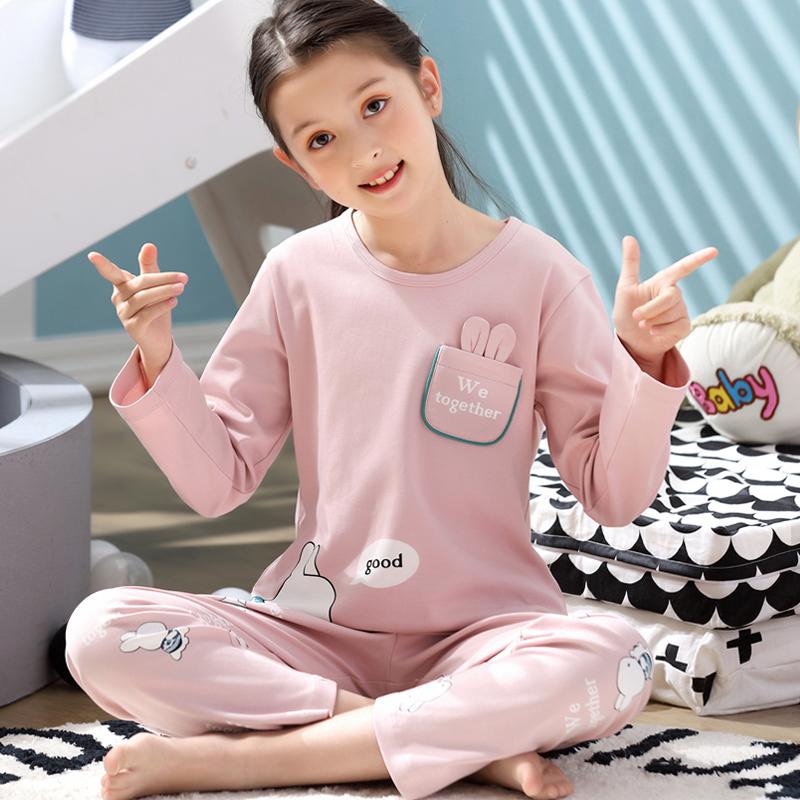 儿童睡衣女童春秋纯棉长袖宝宝薄款中大小女孩家居服亲子夏季套装