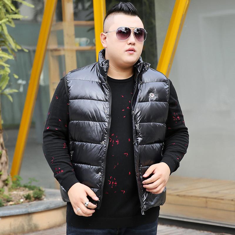Fat plus plus size bright down vest extra large fat shoulder fashion vest mens Outerwear vest distribution