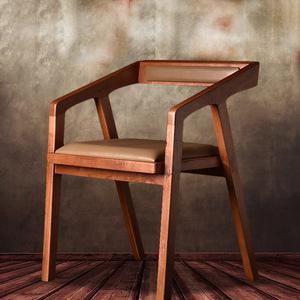 美式复古loft餐厅实木餐椅 咖啡厅桌椅酒吧靠背桌椅扶手电脑椅子