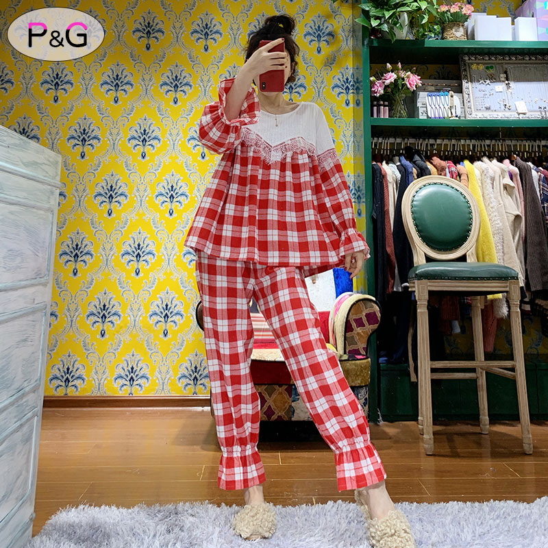 New spring and autumn Korean womens cotton sweet and lovely long sleeve pajamas princess style suit can be worn at home