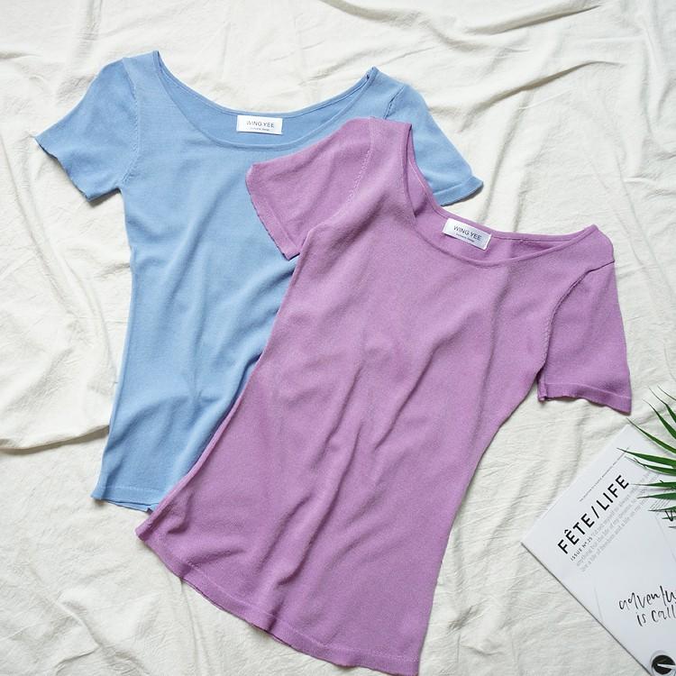 【包邮】修身显瘦短袖T恤女夏季圆领纯色简约百搭针织上衣X3-980