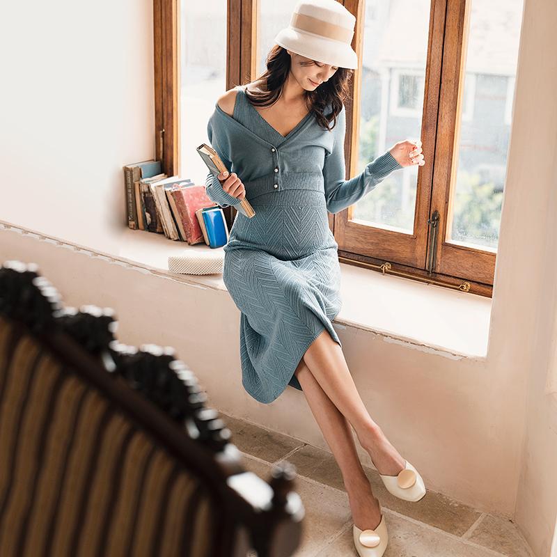 BELLYWEAR孕妇装秋款套装时尚款2019新款波浪纹绞花外出两件套限3000张券