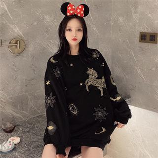 春季新品新款2020年韩版百搭宽松大码刺绣圆领卫衣女上衣女装