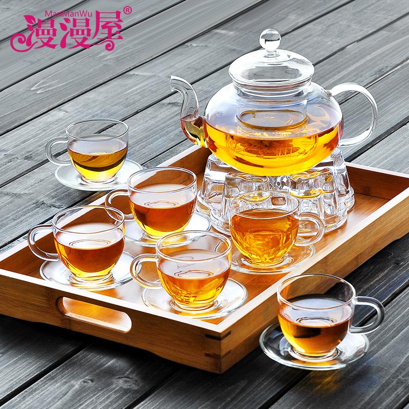 漫漫屋加厚玻璃茶具水果紅草花茶壺套裝整套耐熱過濾功夫茶盤家用