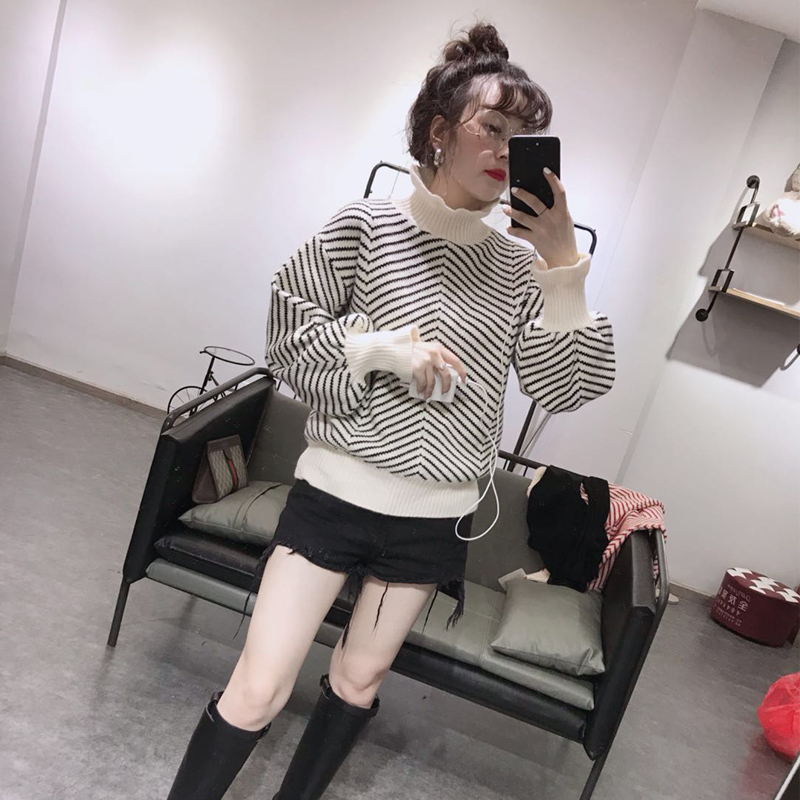 Sweater womens autumn new womens wear high neck striped trumpet sleeve knitted bottomed shirt Korean slim fit sweater