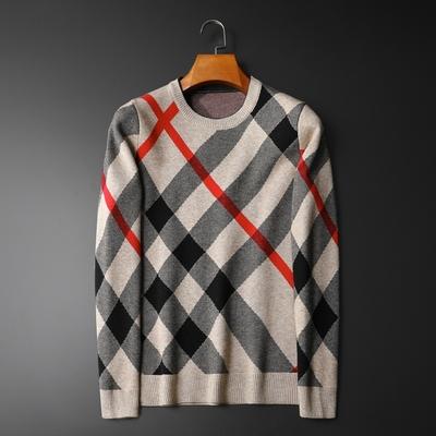 爆款主推 格子男士羊毛衫时尚百搭针织毛衣打底9912 P98平铺