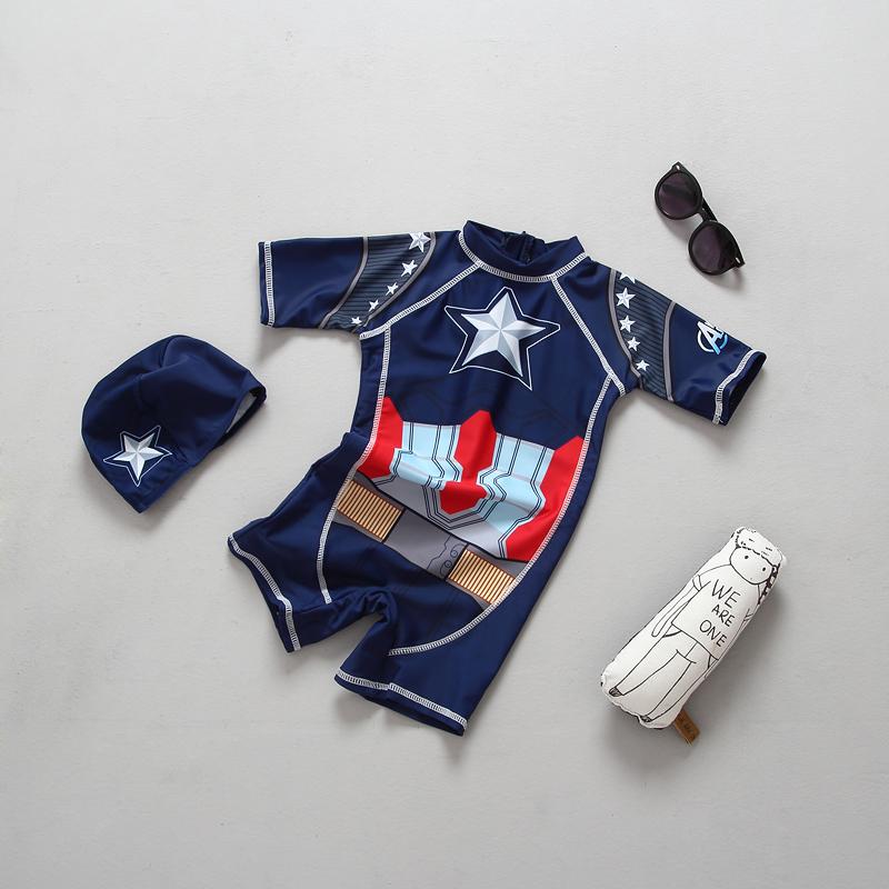 出口欧美超酷美国队长儿童潮游泳衣