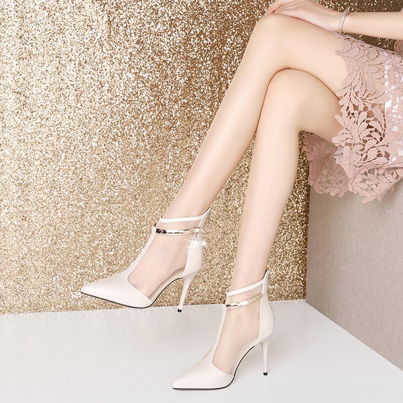 真皮网纱包头凉鞋女夏尖头细跟高跟鞋镂空网靴凉靴短靴米白色踝靴图片