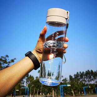 大容量健身运动水杯子塑料太空男女学生便携简约清新森系防摔水瓶图片