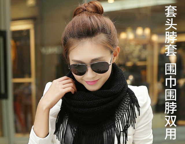Winter black dual purpose imitation cashmere wool cover tassel neck cover Bib knitted warm scarf student girl solid color