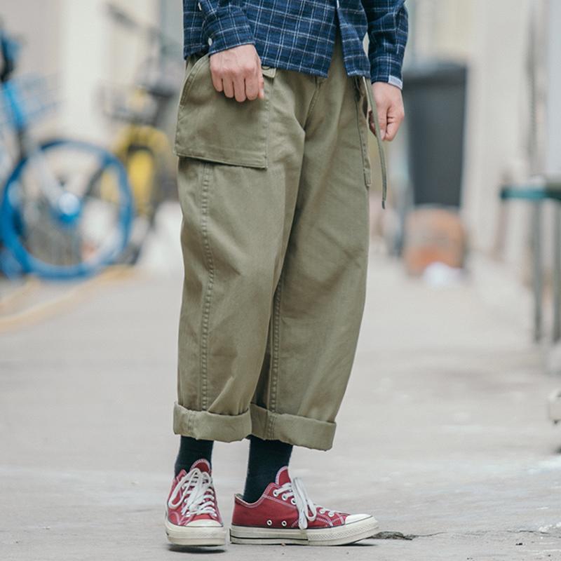 券后148.00元BDCT 美式复古大口袋工装直筒裤 军事风纯色宽松休闲裤潮流男裤