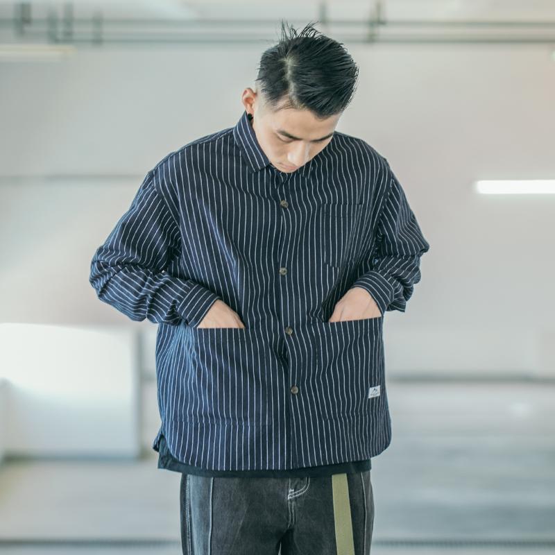 热销240件需要用券BDCT 美式复古工装长袖衬衫外套 秋季青年百搭条纹口袋休闲衬衣