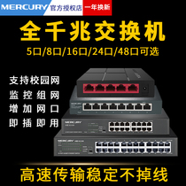 水星千兆交换机8口5全16四4五24八48多口10小2家用宿舍以太网宽带监控路由器转换集线网络分配分流网线分线器