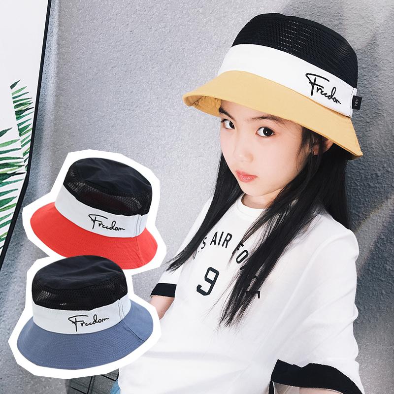 夏季韩版儿童渔夫帽男女中大童遮阳盆帽户外亲子太阳帽网眼透气薄