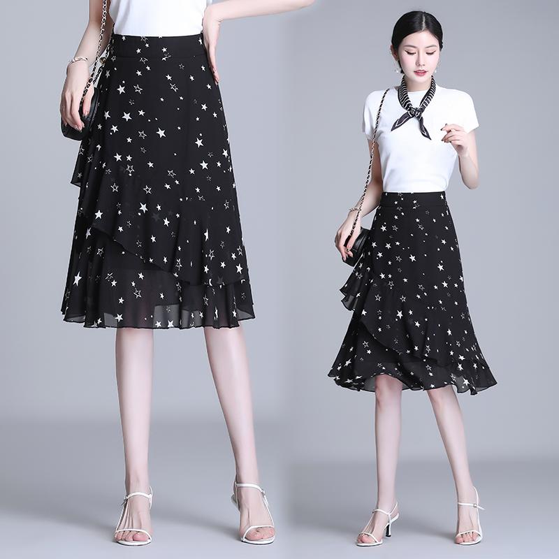 星空纱裙半身裙女夏长裙雪纺碎花鱼尾短裙夏季薄款半裙一步裙裙子
