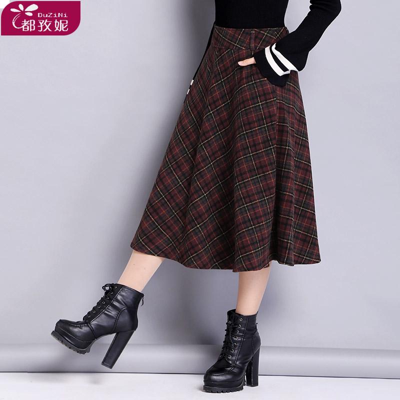 热销60件买三送一格子冬季子女长裙中长款冬半身裙