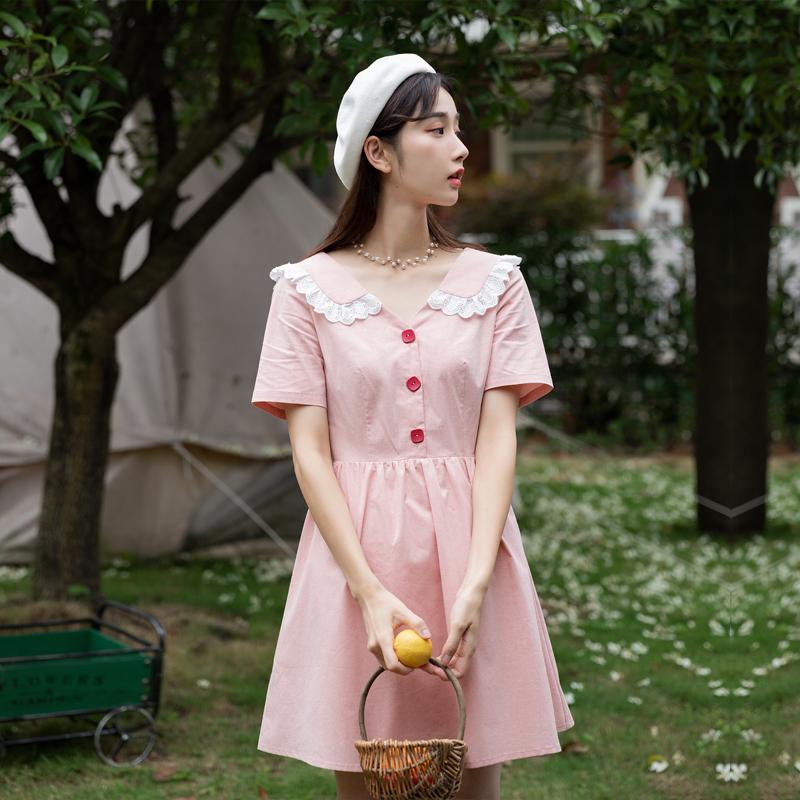 很仙的法国小众荷叶边V领连衣裙egg裙显瘦小个子清新甜美裙女学生
