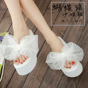 沙滩鞋女蝴蝶结高跟人字拖厚底拖鞋女外穿松糕跟夹脚坡跟学生拖鞋