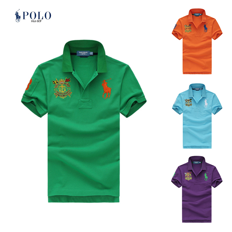 American Ralph authentic Paul short sleeve polo t-shirt Royal Flag Embroidered Polo Lauren Lapel casual mens T-shirt trend
