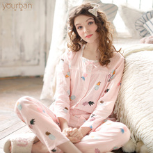 Yourban Monthly Dress Summer Thin Post-natal Feeding Lactation Nightwear Pure Cotton Yarn Large Size Pregnant Women's Nightwear