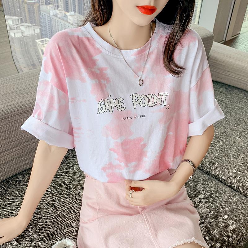 新款设计感小众扎染印花粉色短袖t恤女纯棉半袖上衣ins潮