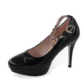 正品真典圆头超高跟细跟防水台女浅口时尚百搭性感工作女鞋96976