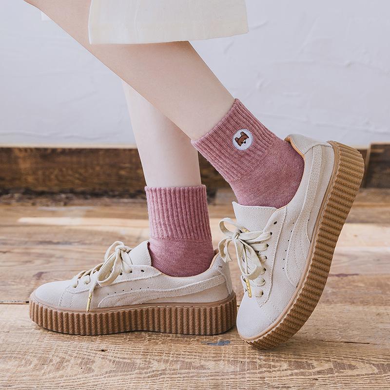 袜子女中筒袜可爱日系卡通韩国学生袜秋冬纯棉ins潮百搭中长款袜