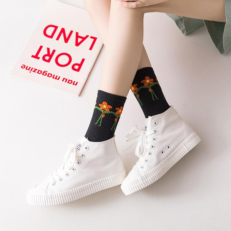 泫雅风小花朵袜子女夏季薄款 黑色袜子中筒袜纯棉网红袜ins潮夏天