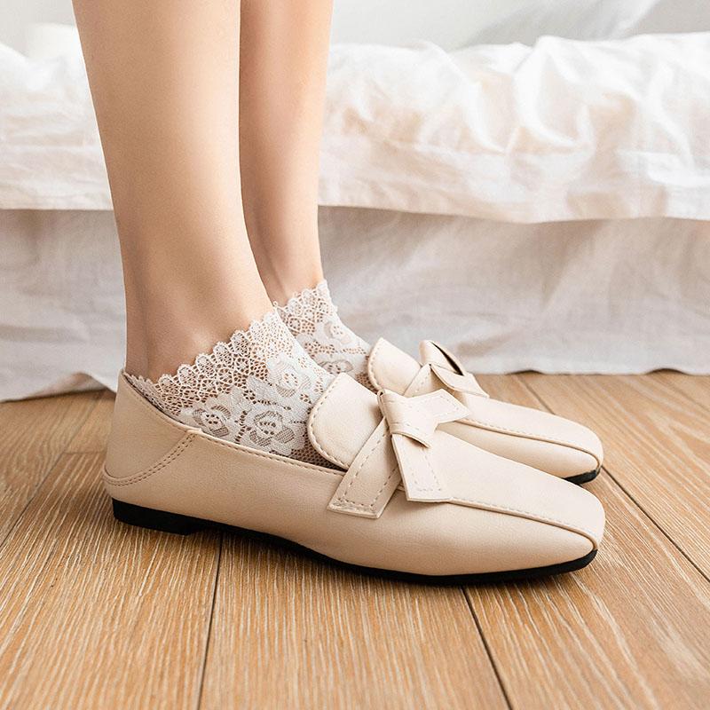日系蕾丝花边女短袜夏季超薄女镂空冰丝船袜女丝袜韩国可爱袜底棉
