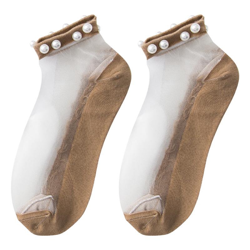 珍珠袜子女水晶袜短袜韩国可爱玻璃丝丝袜女船袜棉底夏季薄款透气