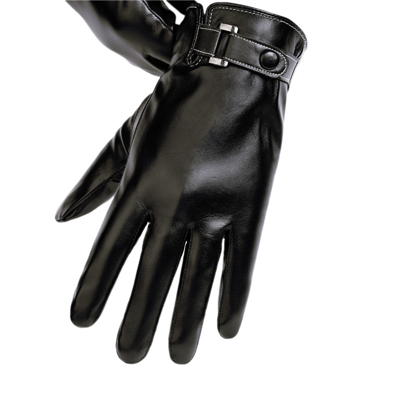Leather gloves mens autumn and winter thin cycling motorcycle Plush windproof waterproof touch screen protection warm cotton gloves