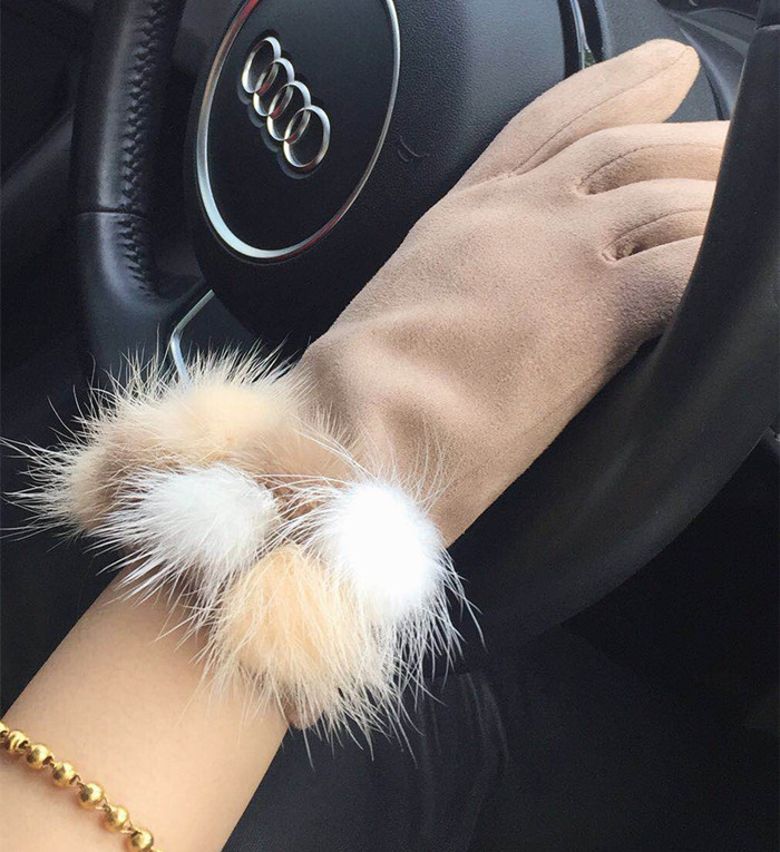 Glove girl winter cute Korean version WINTER CYCLING mink fur suede student touch screen Plush warm thick glove girl