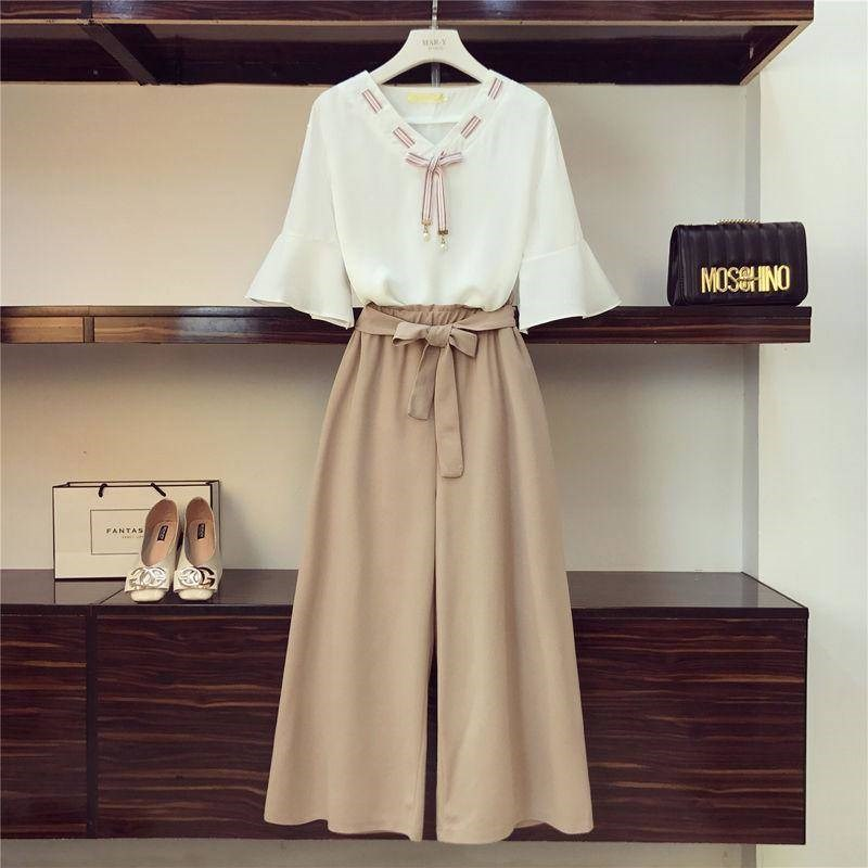 Spring and summer 2021 new Chiffon two piece womens wear Student Korean lace up loose wide leg pants fashion suit womens wear
