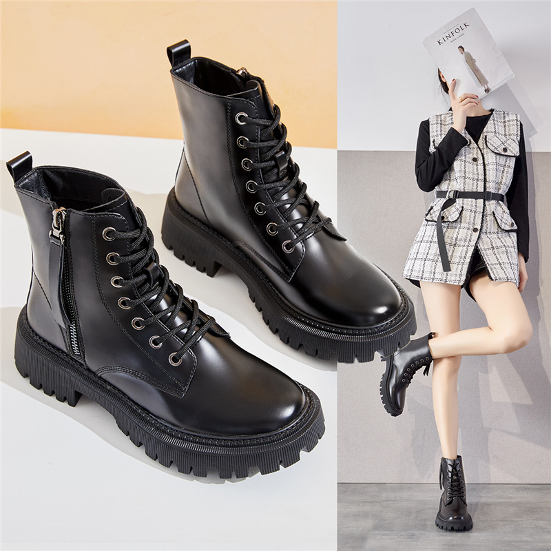 Martin boots womens boots 2020 new autumn and winter short tube versatile side zipper lace up thick soled boots