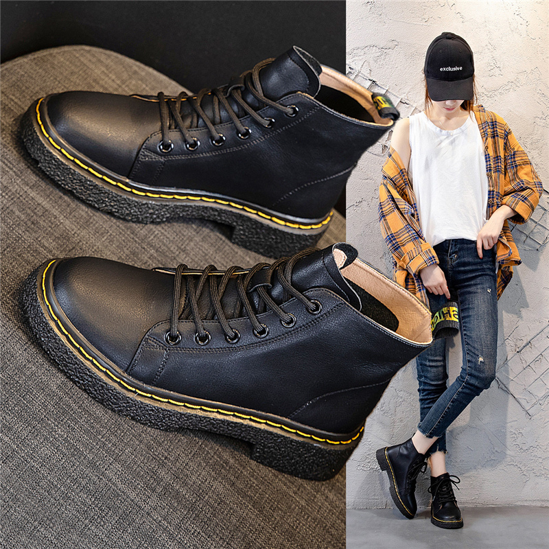 Leather Martin boots womens fall / winter 2020 England style new versatile short boots womens fashion Chelsea short boots