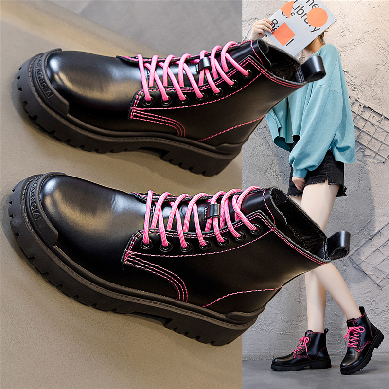Martin boots womens leather 2020 new autumn and winter Pink Lace Up Boots versatile thick sole 8-hole British locomotive boots