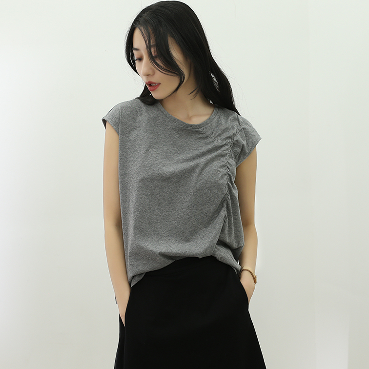 New products in summer of 2019 original pleated thin knitted T-shirt round neck short sleeve simple basic t literary womens yuchunteng